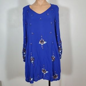 Anthropologie Royal Blue Embroidered Swing Dress
